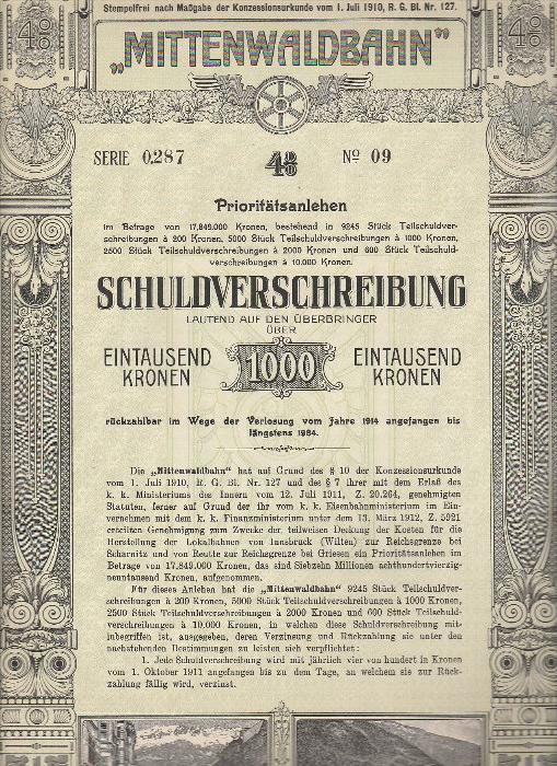 6076. 1912. 4seitige Schuldverschreibung über 1.000 Kronen vom Mittenwaldbahn, mit 5 St. Coupon.