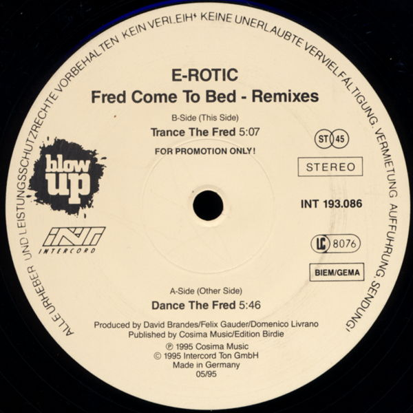 "E-Rotic - Fred Come To Bed [12"" Maxi]"