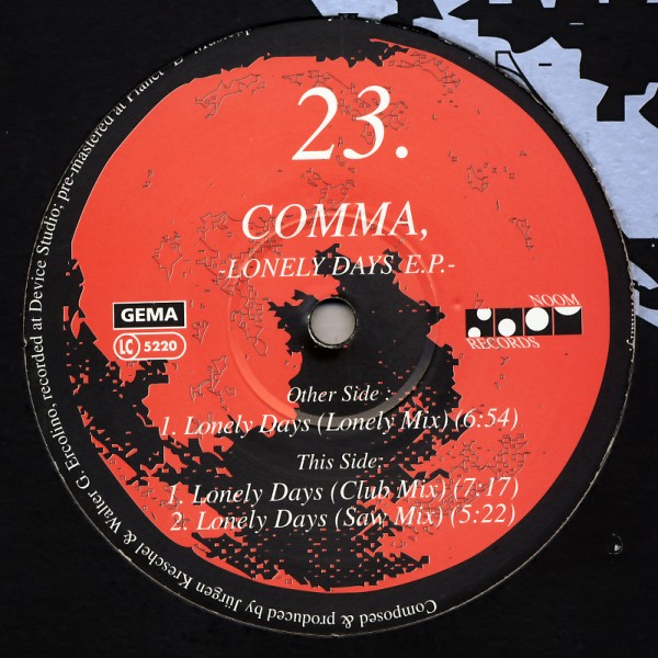 "Comma - Lonely Days EP [12"" Maxi]"