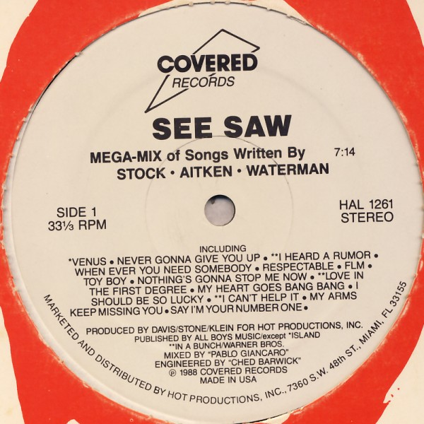 """Various - See SAW Mega-Mix Of Songs Written By Stock · Aitken · Waterman [12"""" Maxi]"""