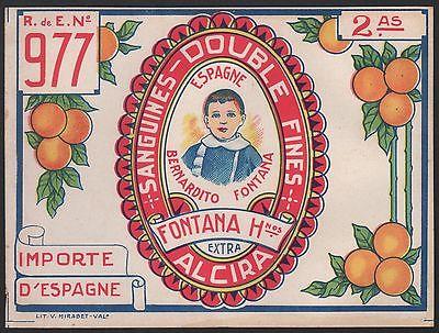 Etikett für spanische Orangen / Orangenkiste von ca. 1920 / orange crate label
