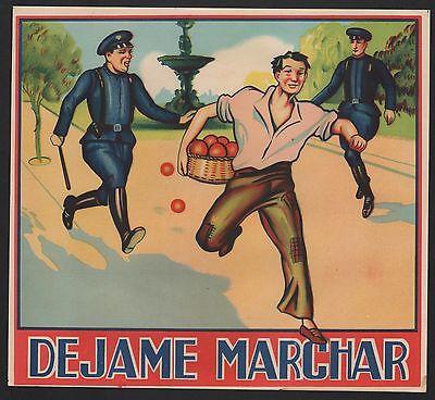 Etikett für Orangen - Dejame Marchar - crate label - étiquette de oranges