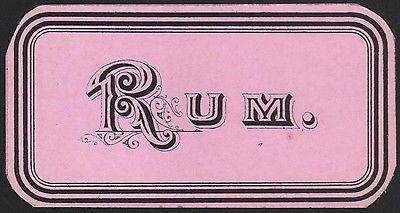 Etikett für RUM - rhum label - Étiquette de rhum - ca. 1900 #2504