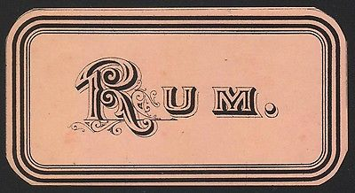 Etikett für RUM - rhum label - Étiquette de rhum - ca. 1900 #2505