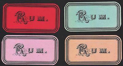 4 Etiketten für RUM - 4 rhum labels - 4 Étiquettes de rhum - ca. 1900 #2502