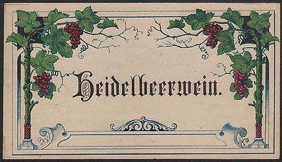 Etikett für Heidelbeerwein - Blueberry wine label - Étiquette - ca. 1900 #2498