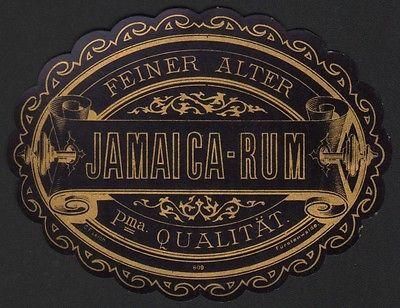 Etikett für FEINER ALTER JAMAICA-RUM - rhum label - Étiquette - ca. 1900 #2497
