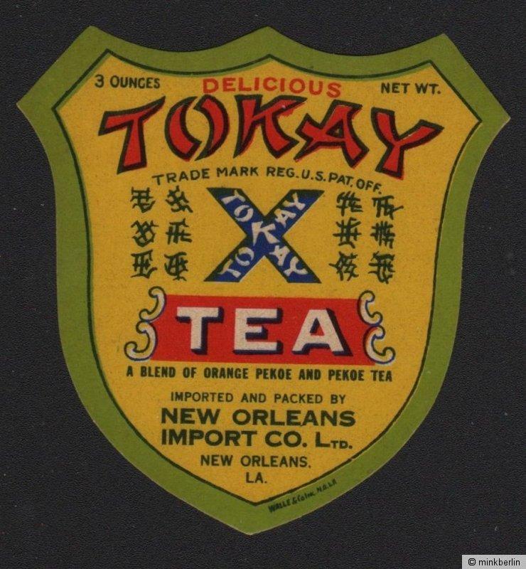 Etikett für Tokay Tee / tea label / étiquette de thé - ca.1920 # 1519