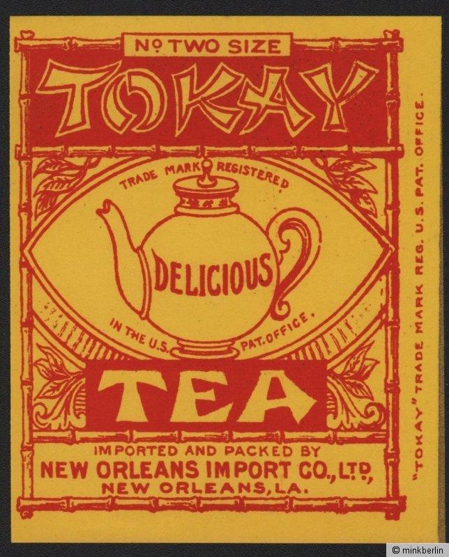 Etikett für Tokay Tee / tea label / étiquette de thé - ca.1920 # 1518