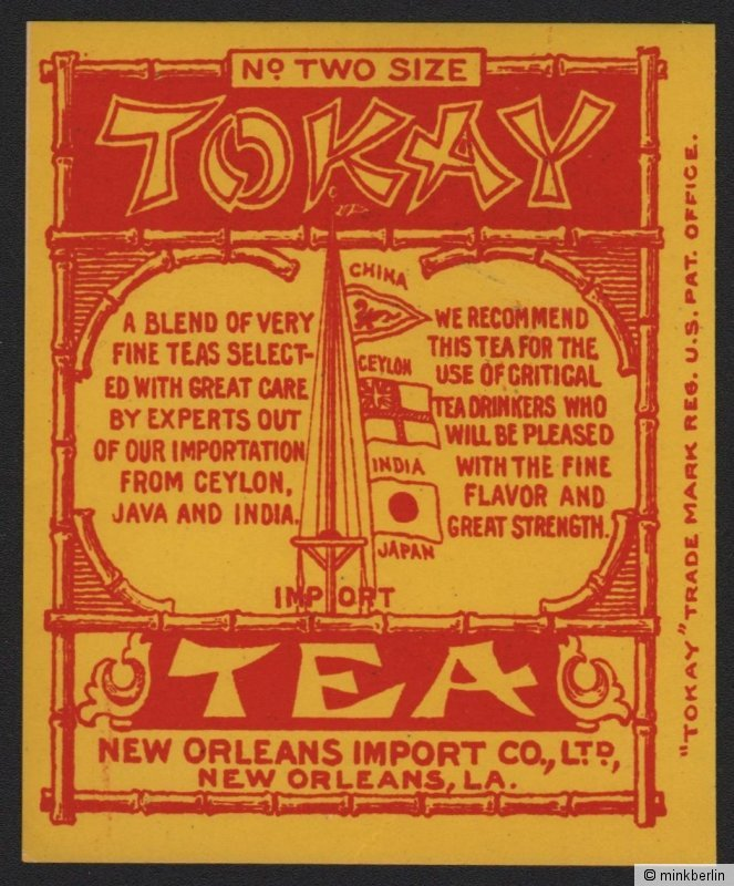 Etikett für Tokay Tee / tea label / étiquette de thé - ca.1920 # 1517