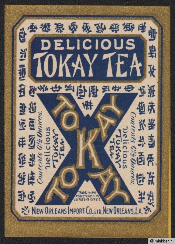 Etikett für Tokay Tee / tea label / étiquette de thé - ca.1920 # 1516