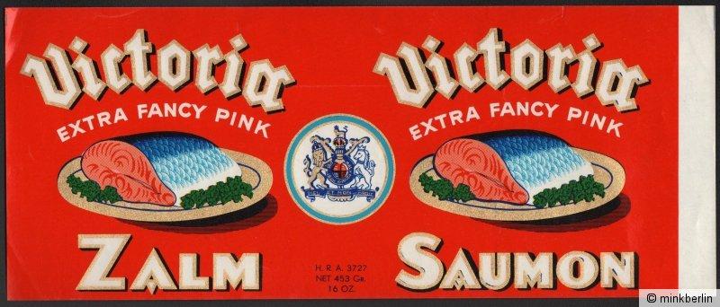 Etikett für Lachs / Zalm / Saumon - Victoria Brand - Belgien ca.1930 # 1014