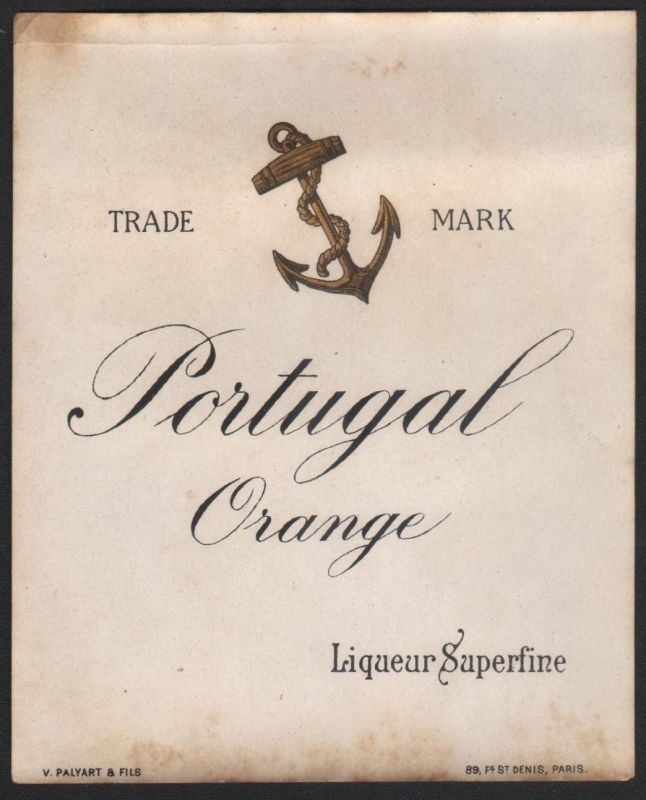 PORTUGAL ORANGE - Etikett für Likör / liqueur label / etiquette  #2217