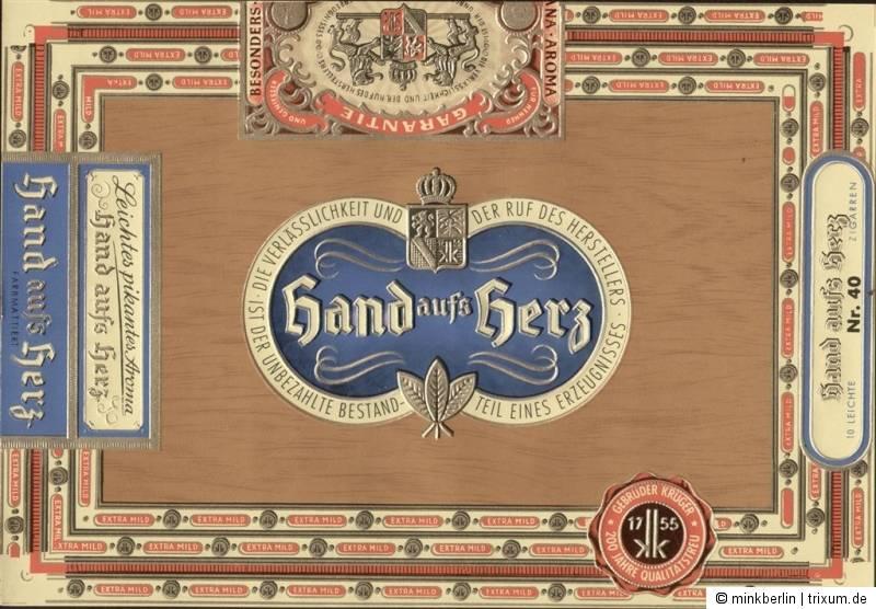 Etikett für Zigarrenkiste - Hand aufs Herz - ca. 1950 - # 87