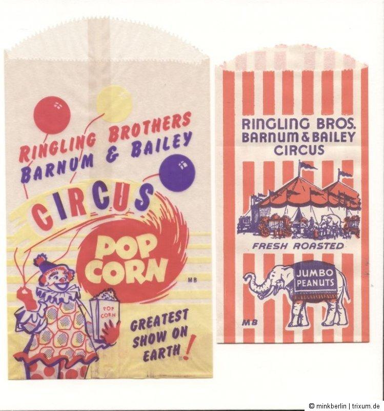 2 Tütchen Popcorn  Peanuts 1950er Jahre / Ringling Bros. Barnum & Bailey Circus