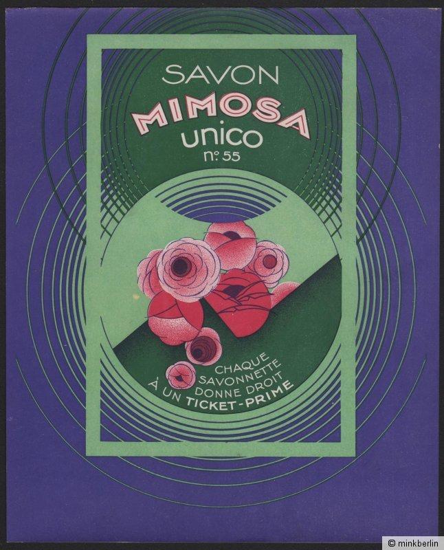 Etikett für Seife Savon Mimosa - étiquette de savon - soap label - ca.1920 # 431