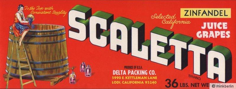 Etikett für Trauben - Kistenetikett - Scaletta Brand - USA ca.1970 # 928