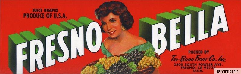 Etikett für Trauben - Kistenetikett - Fresno Bella Brand - USA ca.1970 # 981