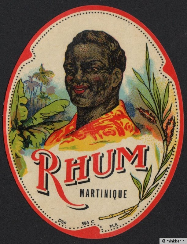 Rum - Rhum Martinique Etikett / rhum label / etiquette de rhum / ~ 1950 #2128