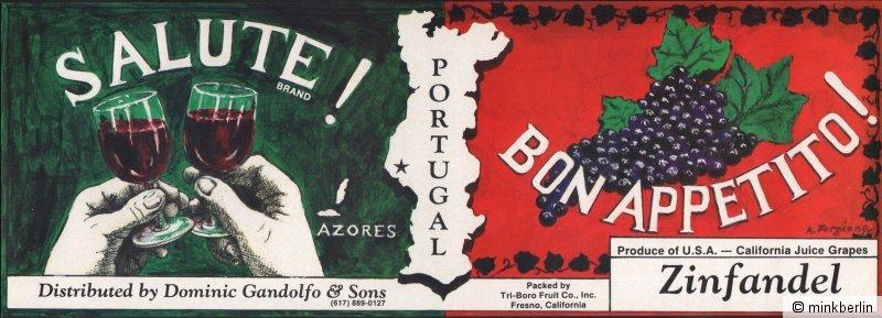 Etikett für Trauben - Kistenetikett - Salute Brand - USA - ca.1980 # 898