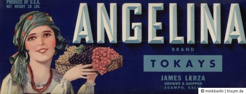 Etikett für Obstkiste / Kistenetikett - ca. 1940 - Angelina Brand # 464
