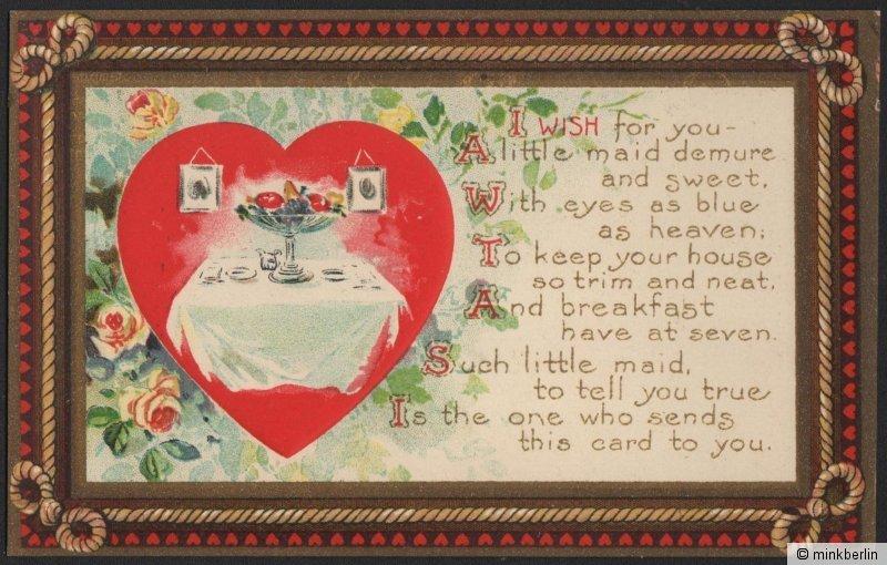 Valentinstag Karte - Original von 1910 - Valentins Day Postcard - # 1418