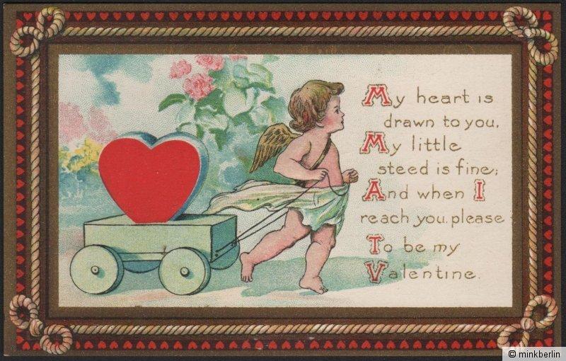 Valentinstag Karte - Original von 1910 - Valentins Day Postcard - # 609
