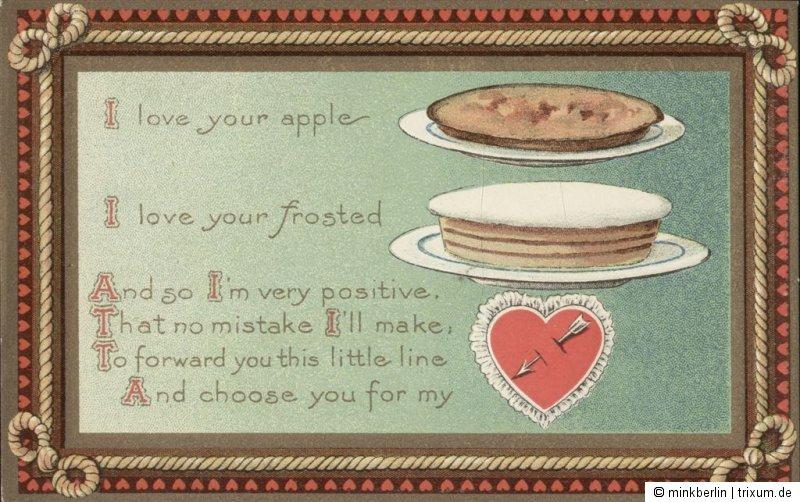 Valentinstag Karte - Original von 1910 - Valentins Day Postcard - # 607