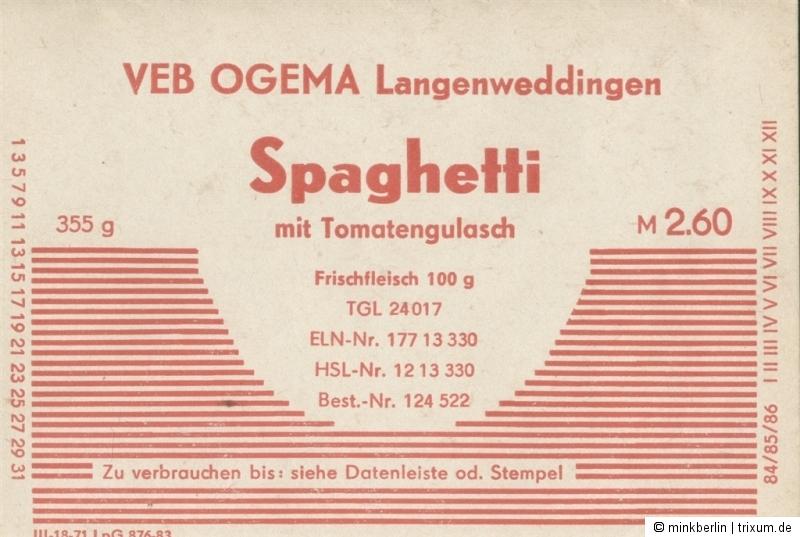 Etikett für Spaghetti - VEB Ogema - DDR - 1983 - # 377