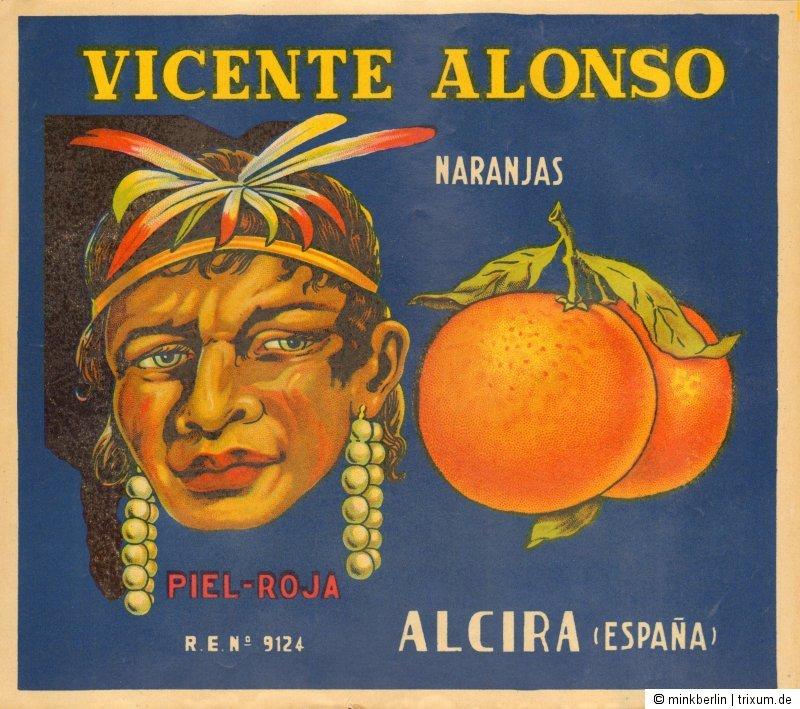 Etikett für Orangen / Kistenetikett - Vicente Alonso - Spanien ca. 1930 # 834