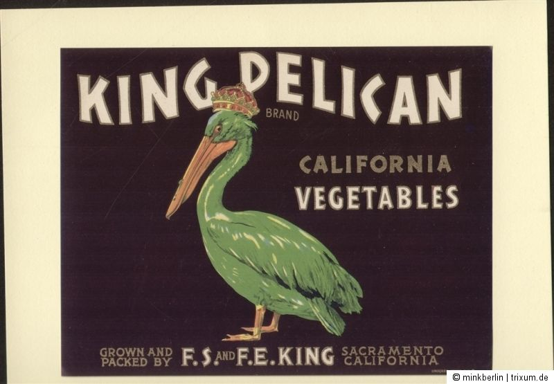 Etikett für Gemüsekiste - KING PELICAN - Vegetable crate label USA ca1930 - #368