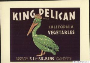 Etikett für Gemüsekiste - KING PELICAN - Vegetable crate label USA ca1930 - #368