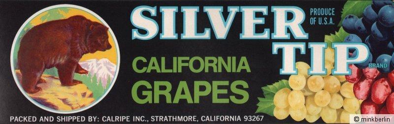 Etikett für Trauben - Kistenetikett - Silver Tip Brand - USA ca.1970 # 923