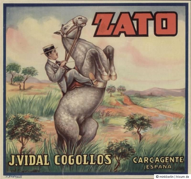 Etikett für Orangen Kiste - Reiter - Spanien 1940