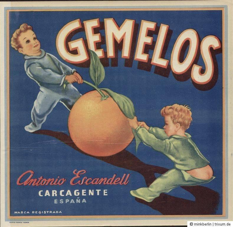 Etikett für Orangen Kiste - Kinder - Spanien 1940