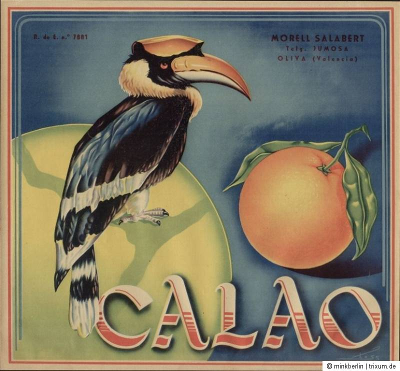 Etikett für Orangen Kiste - Vogel 3 - Spanien 1940