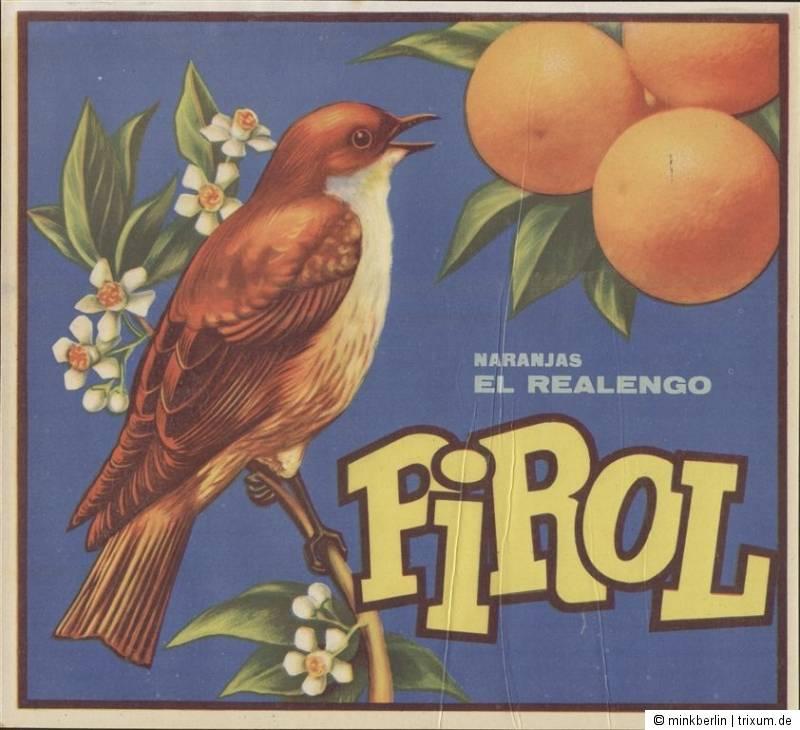 Etikett für Orangen Kiste - Vogel 2 - Spanien 1961