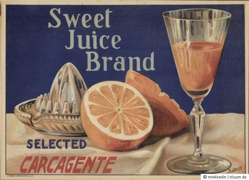 Etikett für Orangen Kiste - Saftpresse / Glas - Spanien 1910