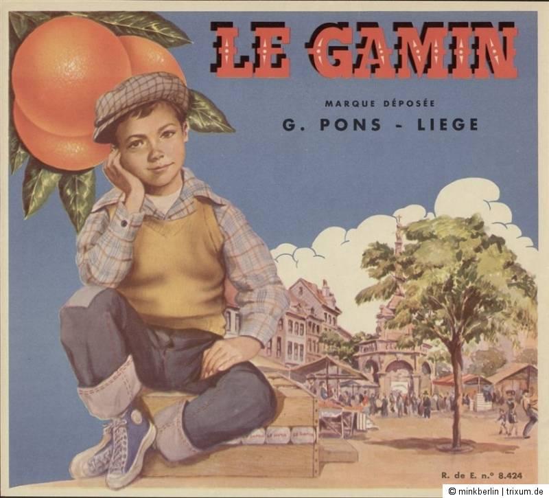 Etikett für Orangen Kiste - Junge / Markt - Spanien 1945