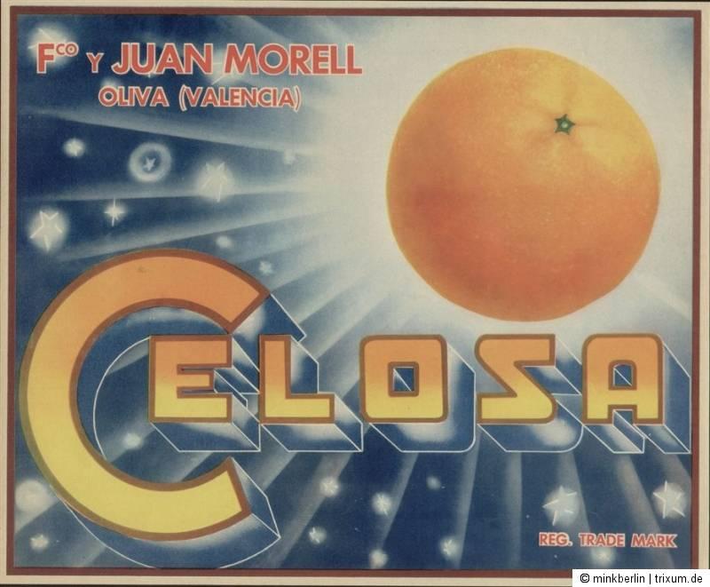 Etikett für Orangen Kiste - Sonne / Sterne - Spanien 1960