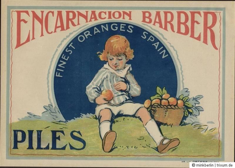 Etikett für Orangen Kiste - Kind - Spanien 1930