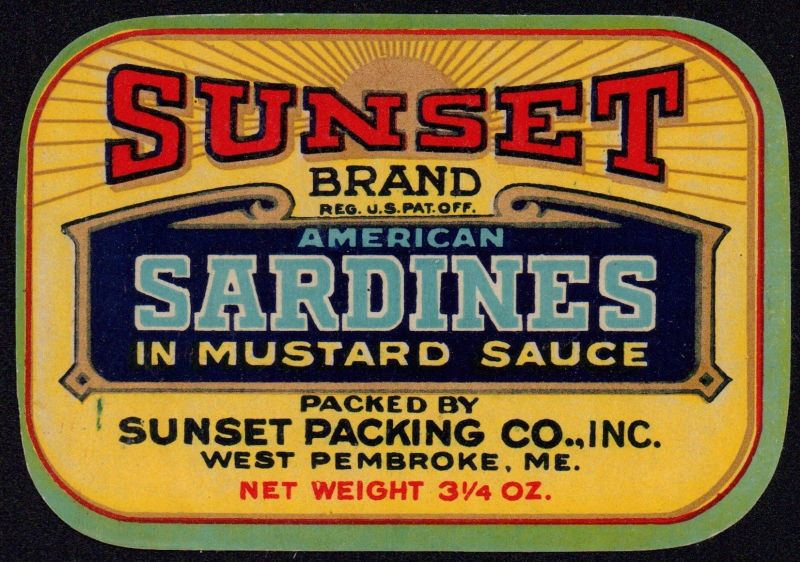 SUNSET Sardines - Etikett für Sardinendose - ca.1940 - label - étiquette #2444