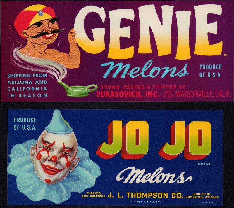 Genie / JO JO - Melons - Etiketten für Melonen ca.1960 - label - étiquette #2065