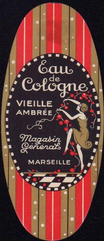 Etikett für Eau de Cologne - AMBRÉE - perfume label - Étiquette - ca.1930 #2131