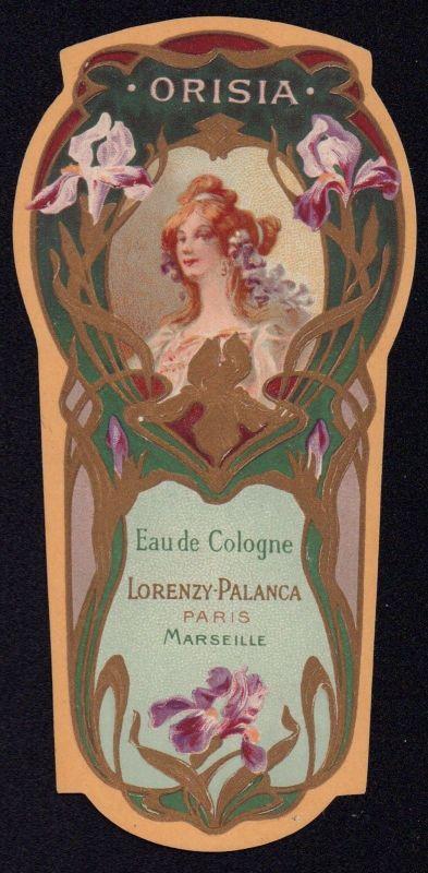 Etikett für Eau de Cologne - ORISIA - perfume label - Étiquette - ca.1930 #2230