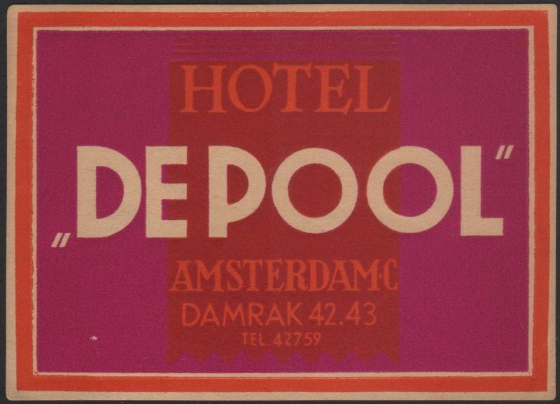 Etikett / Hotel Depool Amsterdam / luggage label / étiquette de bagage #2237