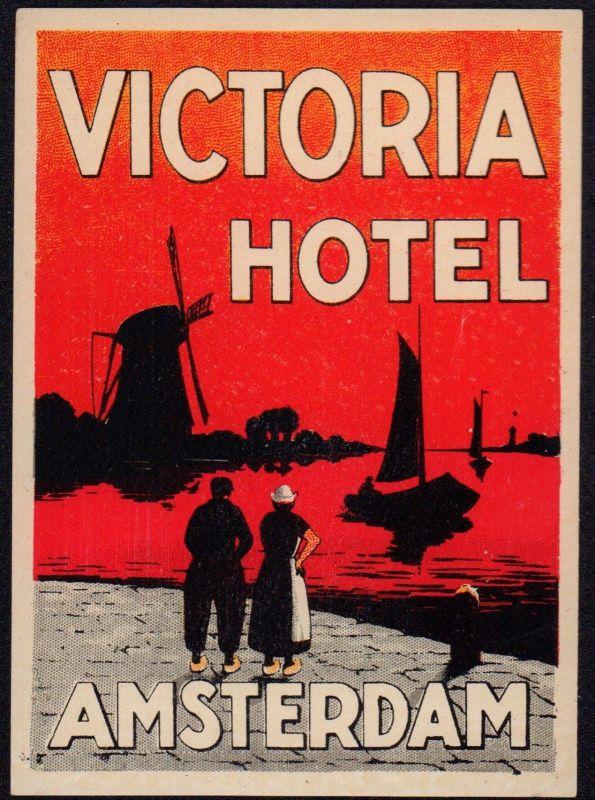 VICTORIA HOTEL, Amsterdam - Koffer Hotel Etikett - luggage label  #2740