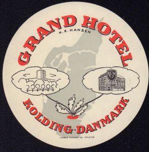 GRAND HOTEL Kolding / Danmark - Koffer / Hotel Etikett - luggage label  #2735