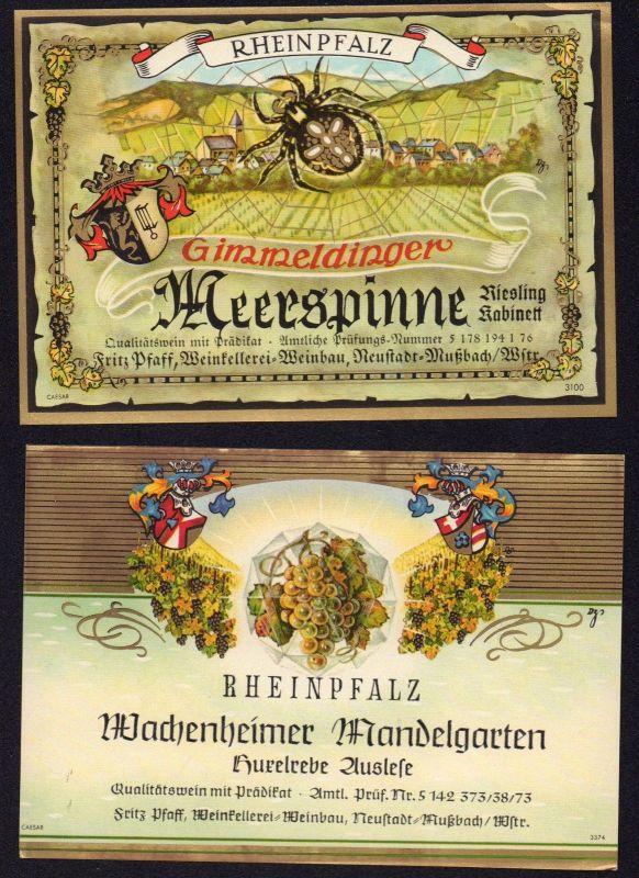 2 Weinetiketten RHEINPFALZ  - wine labels - étiquettes de vin - ca.1970 #2743