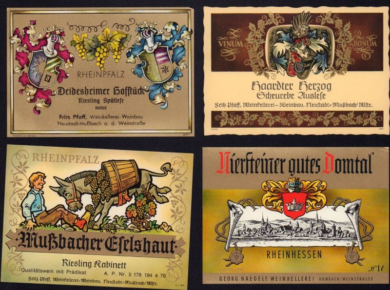 4 Weinetiketten RHEINPFALZ  - wine labels - étiquettes de vin - ca.1970 #1369